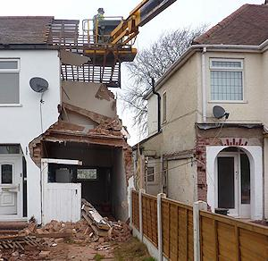 House in Wolverton following partial collapse, June 2013