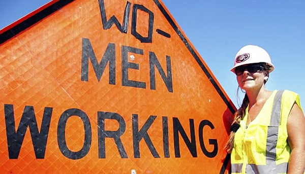 WO-MEN WORKING sign