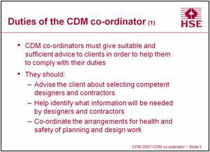 Duties of the CDM co-ordinator